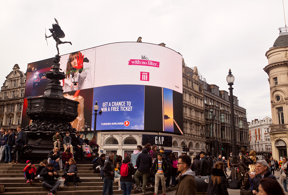 BBC Three - Perfect Day 2018 - Piccadilly Lights - life with no filter wide shot
